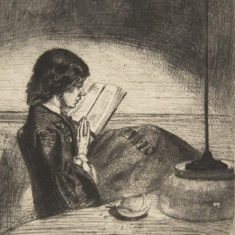 drawing of girl reading by Whistler